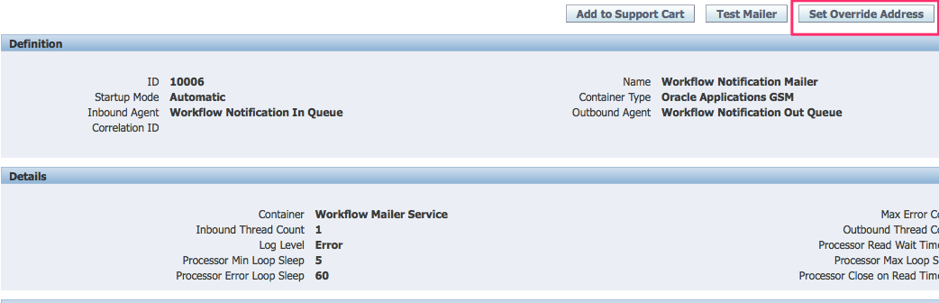 Oracle set workflow override email address