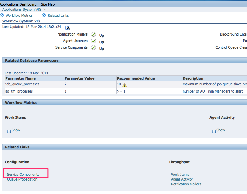 Oracle workflow service components